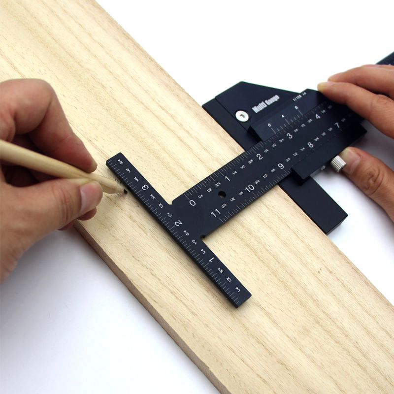 Tools : New T Type High Precision Multifunctional Woodworking Ruler Scriber Measurement Carpentry Marking Gauge Carpenter