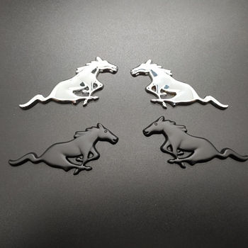 2PCS 3D Chrome Metal Running Horse Sticker Emblem Badge For Ford Mustang Shelby GT Rear Trunk Decor Car Styling Accessories fdik 2pcs set car tail rear side metal 4x4 rc car 4wd sticker 3d chrome badge car emblem badge decal auto decor styling 4wd