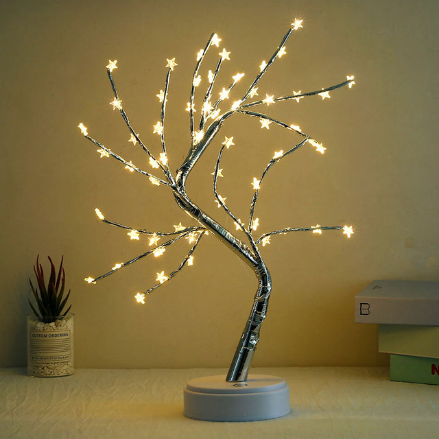 LED Tabletop Bonsai Tree Light Touch Switch DIY Artificial Light Tree Lamp Decoration Festival Holiday Battery/USB Operated D30 6