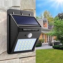 Водонепроницаемый 20 LED Солнечная Свет Движение Датчик Стена Свет Открытый Сад Двор Лампа
