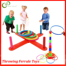 Pai-filho jogando virola brinquedo arco-íris jenga anéis brinquedos grande cruz cinco-anel virola brinquedo crianças brinquedo educativo lxx