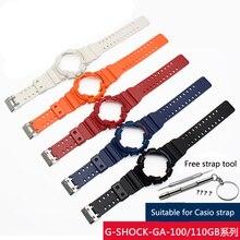 Силиконовый резиновый чехол для наручных часов Casio G-SHOCK GA-110 / 100 GA-120 GD-110 для мужчин спортивный водонепроницаемый ремешок браслет аксессуары