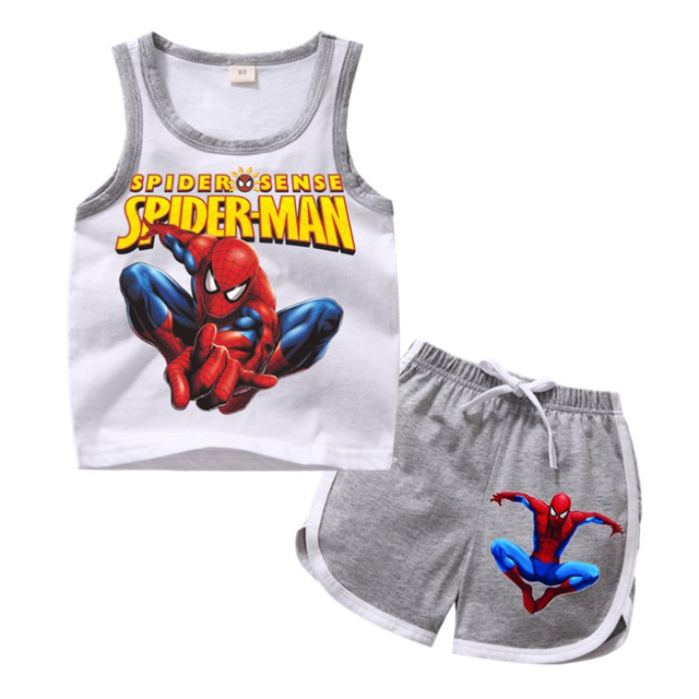 Summer children Spiderman clothing sets toddler girls clothing sets top+pant 2Pcs/sets kids casual boys clothes sport suits 1