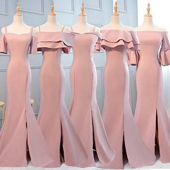 New Boat Neck Pink Bridesmaid Dress Mermaid Bridesmaid Dresses Long Sleeves Wedding Party Dress Burgundy Bridesmaid Dress Long
