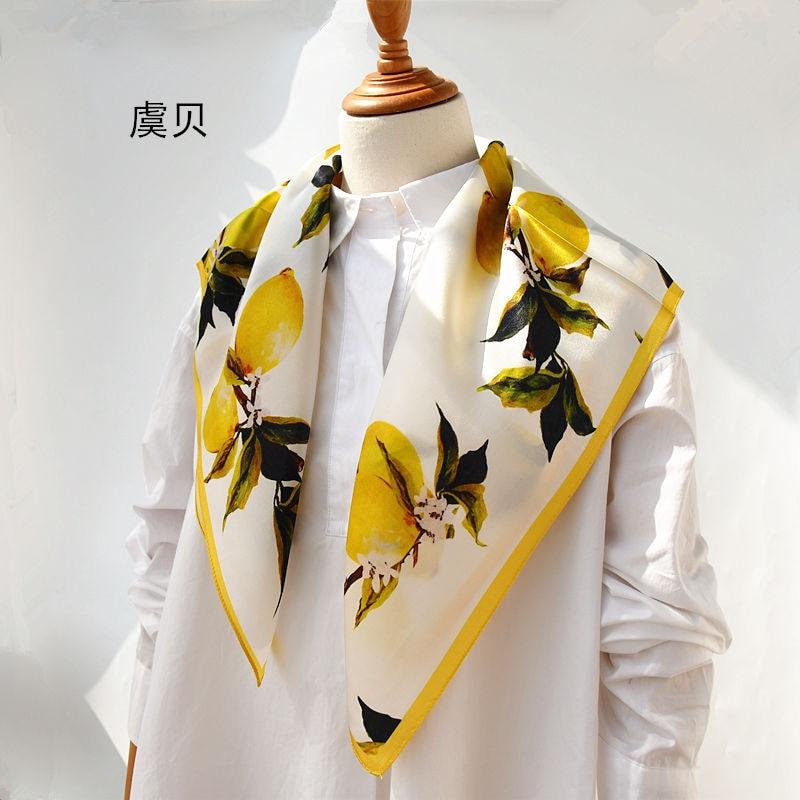Китайский натуральный шелковый шарф, картина с лимонами для женщин, 100% натуральный шелк, мягкий и Высококачественный Средний квадратный платок, подарок для женщин Женские шарфы      АлиЭкспресс