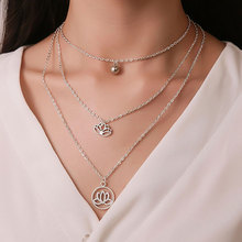 цена на Popular Temperament Hollow Out Lotus Pendant Choker Necklace Simple Vintage Three Layer Clavicle Necklace Fashion Jewelry Gifts