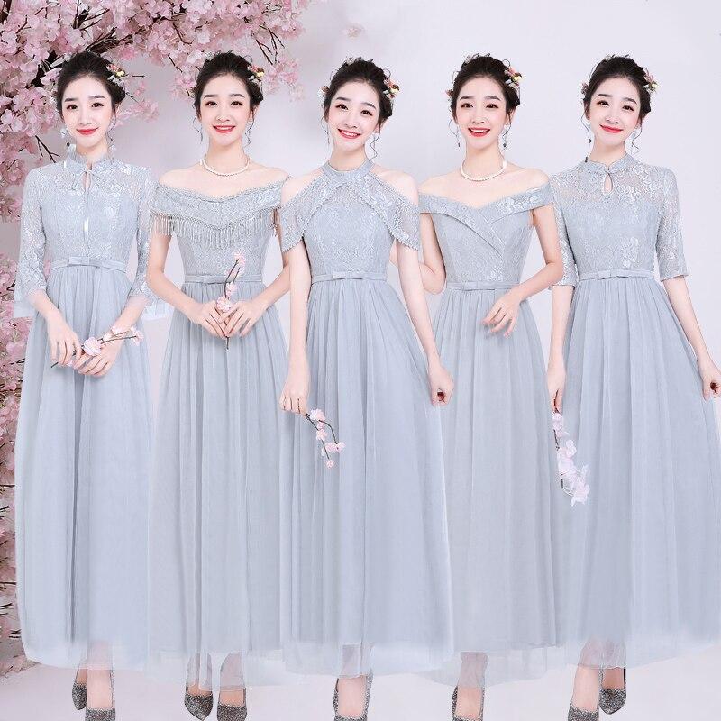 Elegant Dress Women For Wedding Party Vestido Largo Sirena Plus Size Bridesmaid Dress Gray Boat Neck Sexy Dress Prom Azul Royal