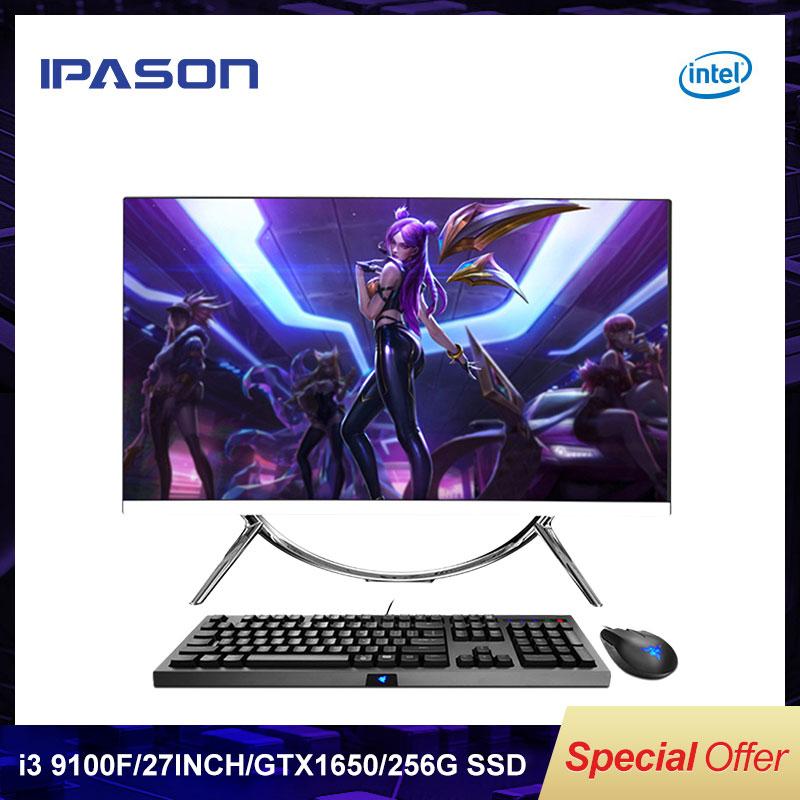 IPASON todo en un juego de PC de V10 27 pulgadas Intel 6 Core i3 9100F DDR4 8G RAM 256G SSD no integrado 1650 4G juego de la PC de la computadora Original Nokia Lumia 635 4G LTE desbloquear teléfono móvil Windows OS 4,5