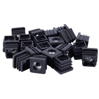 Promotion! Square Tubing Pipe End Caps Insert Plugs M8 Thread 20x20mm 20Pcs Black|  -