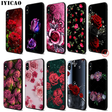 IYICAO cool rose Colorful Soft Black Silicone Case for iPhone 11 Pro Xr Xs Max X or 10 8 7 6 6S Plus 5 5S SE