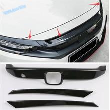цена на Lapetus Auto Styling Front Hood Bonnet Grille Grill Cover Trim Fit For Honda Civic Sedan 2016 - 2019 Black Red Carbon Fiber ABS