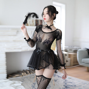 Image 4 - Porno Erotic Costumes for Women Transparent White Black Sexy Lingerie Lace Cute Female Underwear with Socks and Collar Babydolls
