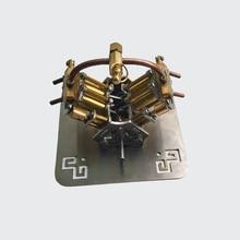 مايكرو V4 محرك بخاري نموذج النحاس اسطوانة المكبس المكبس صمام الشريحة تصنيف ضغط العمل 1.5 ~ 3 كجم