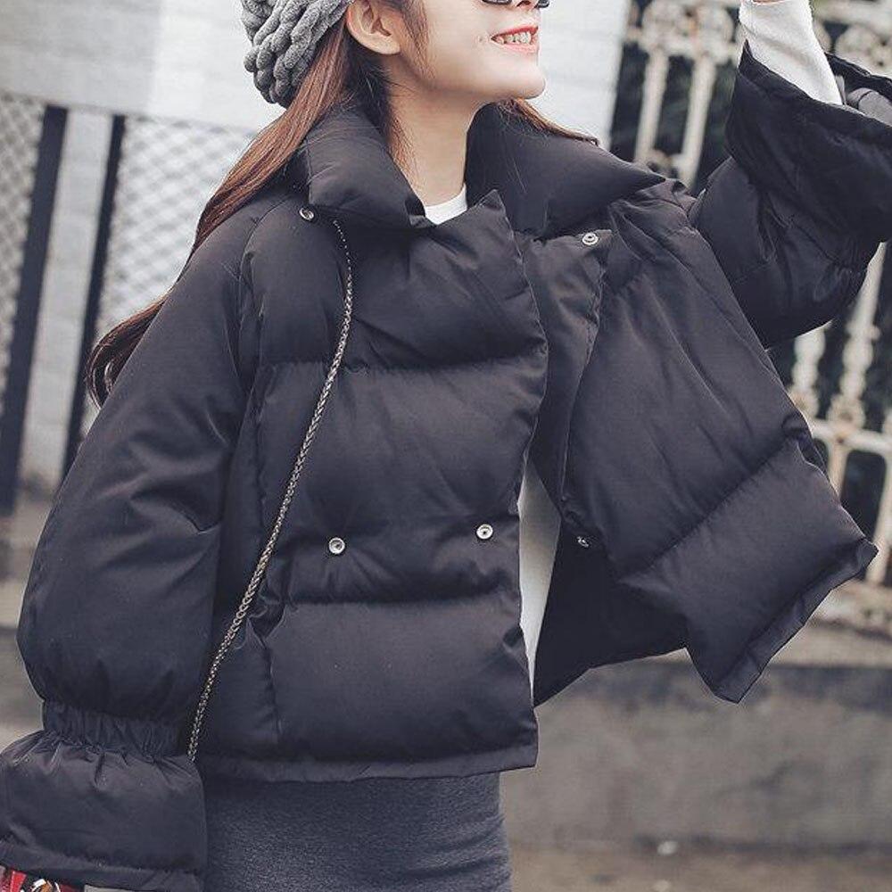 Korean Style Winter Short   Down   Jacket Women Turtleneck Female   Down     Coat   Loose Oversize Womens Elastic Sleeves Short Parka   Coat
