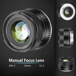 35mm F1.2 Manual Focus Lens Metal Casing Durable Lighweight Lens for Fuji X JHP-Best