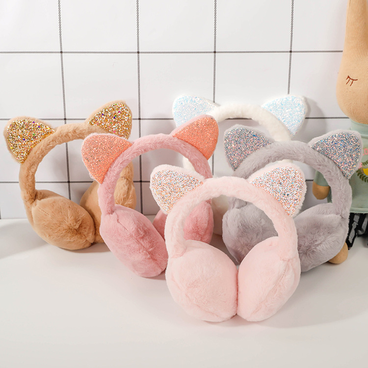 Cute Sequin Ears Winter Earmuffs Fashion Animal Kids Earmuffs Kawaii Ear Warmer Cat Covers Ears For Girls