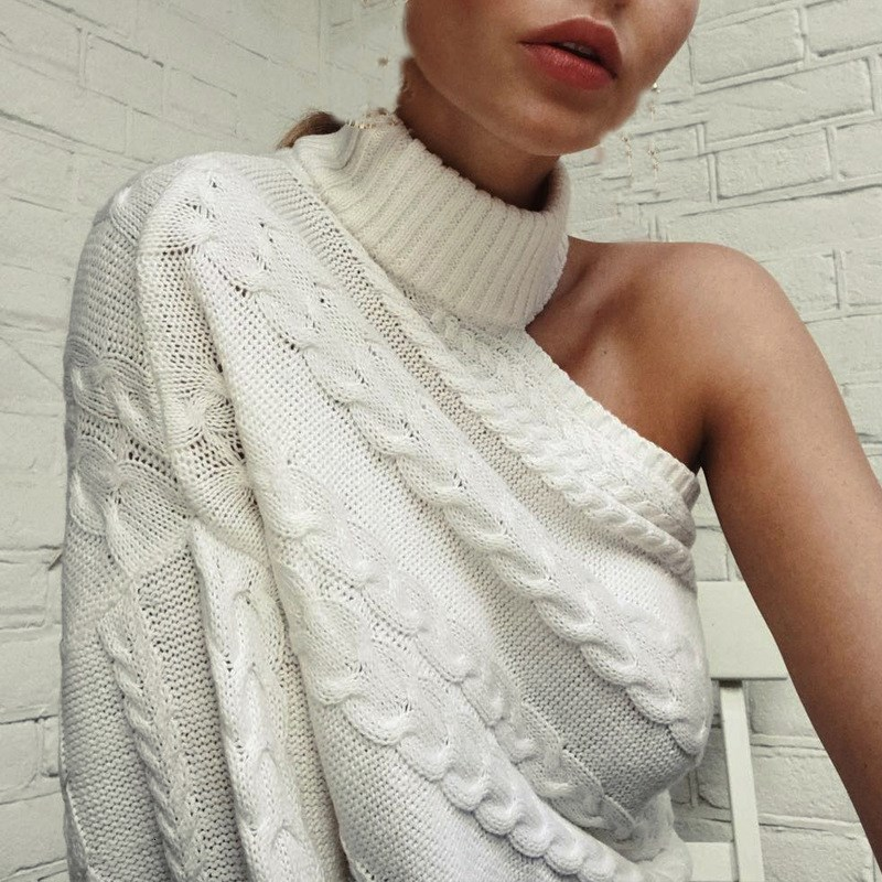 2018 Women One Shoulder Turtleneck Pullover Sweater Long Sleeve White Solid Jumper Casual Loose Knitted Sweater Tops