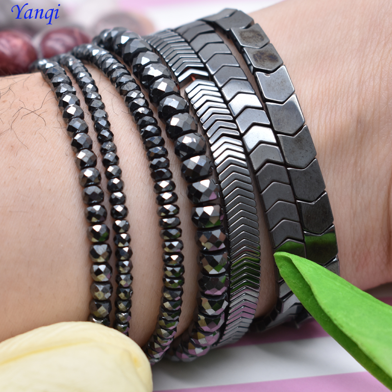 Natural Stone Special-shaped Square Black Hematite beads Flat Round Loose beads For Necklace Bracelet Women Men Jewelry DIY