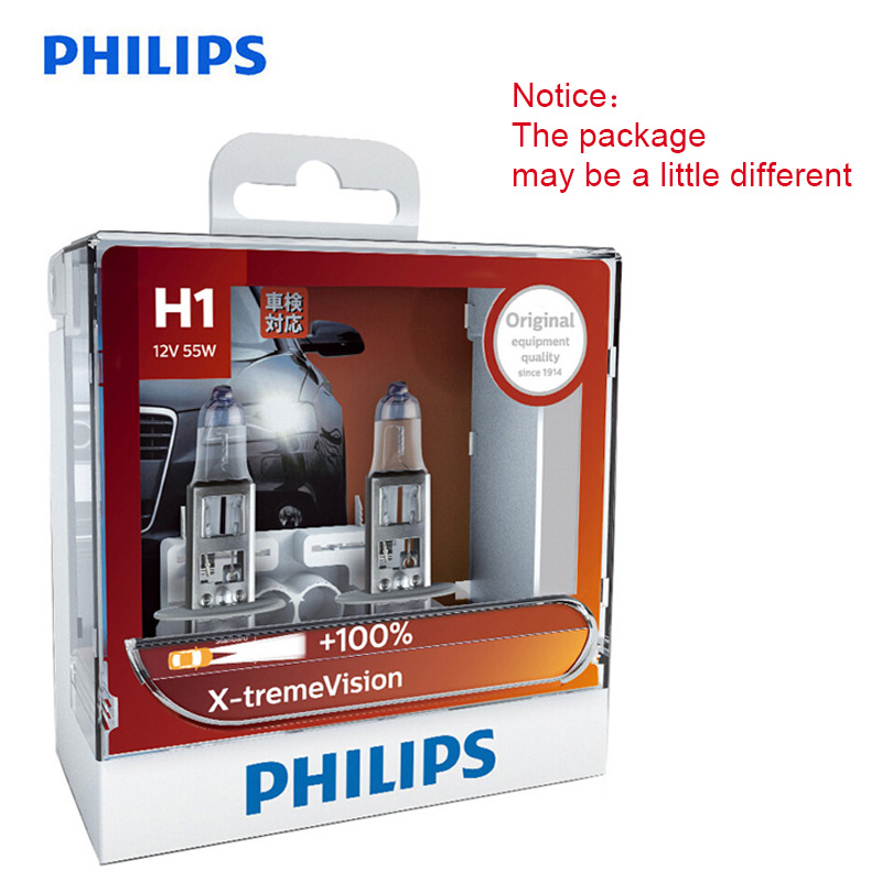 Philips Original H1 H4 H7 H11 HB3 HB4 X-treme Vision Car Headlight Bright Halogen Bulbss ECE Approve 100% More Vision, Pair