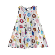 Baby Dress Girl Cute Flower Print Blouse Cotton Mini Dress Toddler Children Sleeveless Princess Party Dresses Lovely Vestidos(China)