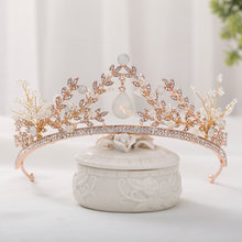 FORSEVEN Handmade Shining Pendant Crystal Gold Color Royal Princess Diadem Tiaras and Crowns Headbands for Bride Noiva Wedding(China)