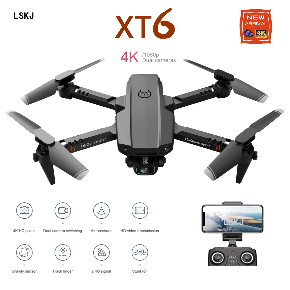2020 New Mini Rc Drone XT6 4K 1080P HD Dual Camera WiFi FPV Air Pressure Altitude Hold Foldable Quadcopter Gps Dron for boy toys(China)