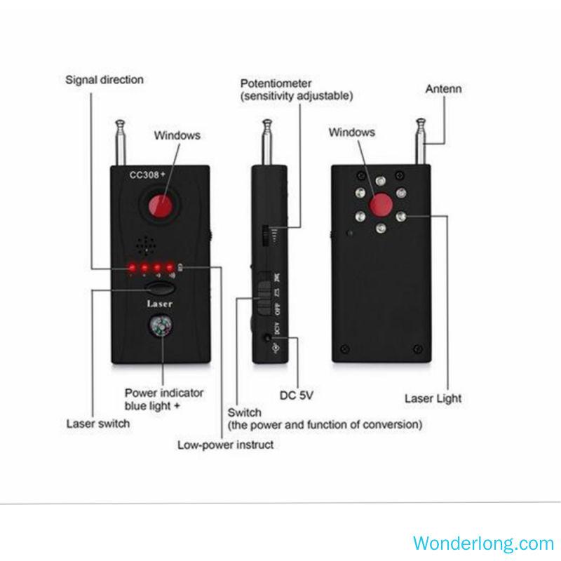 rf cc308 anti detector da câmera do espião