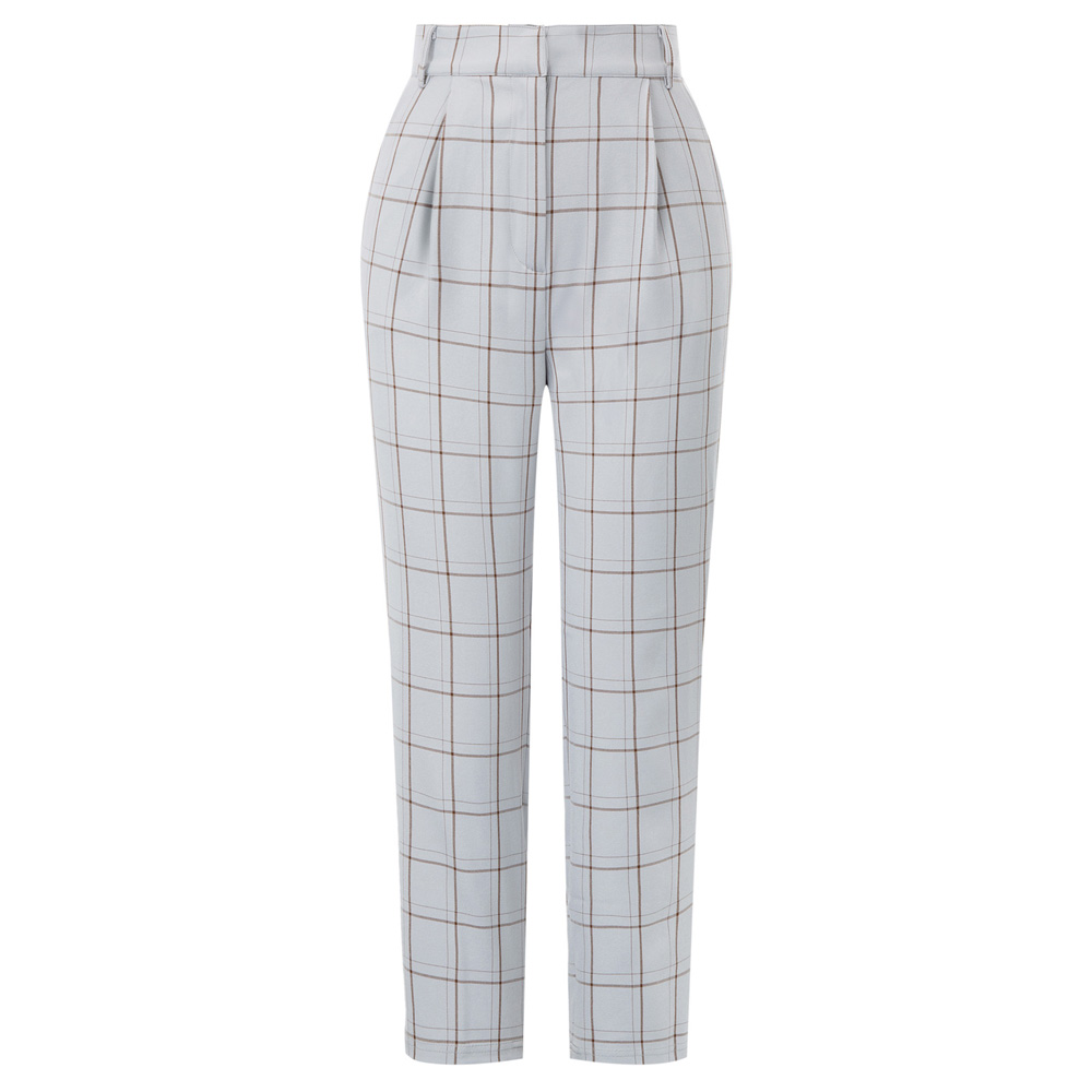 Women   pants   Ankle Length Skinny   Pants     Capri   With Pockets Plaid Elastic Waist office lady trousers