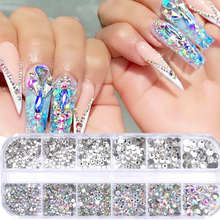 Nail-Art-Decoration Jewelry Mirror Crystals Rhinestones Butterfly Nail Sequins Glass