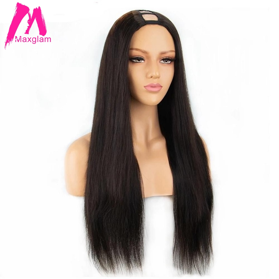 U Part Wig Brazilian Human Hair Straight Short Wigs 30 Inch Long For Black Women Pre Plucked Natural Color Remy Hair