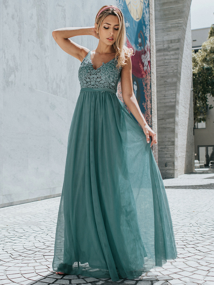 Ever Pretty Tulle Bridesmaid Dresses Women V-Neck Appliques Elegant Long Dresses For
