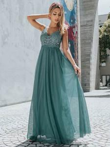 Ever Pretty тюлевые Платья для подружек невесты женские с v-образным вырезом Аппликации элегантные длинные платья для свадебной вечеринки EP00930 ...