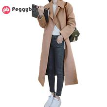 Winter Coat Women Elegant Wool Coat Lapel Long Sleeve Thick Warm Long Woolen Ove