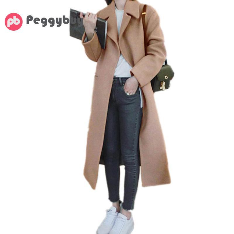 Winter Coat Women Elegant Wool Coat Lapel Long Sleeve Thick Warm Long Woolen Overcoat Winter Thicken Fashion Overcoat