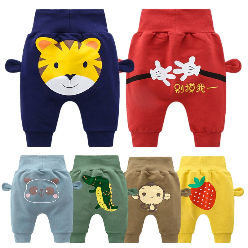 2021 Newbern Baby Boys Clothes Spring Cartoon Pants Girls High Waist Harun Pant For Kids 6m-3y Cotton Pp Trousers Toddler Infant