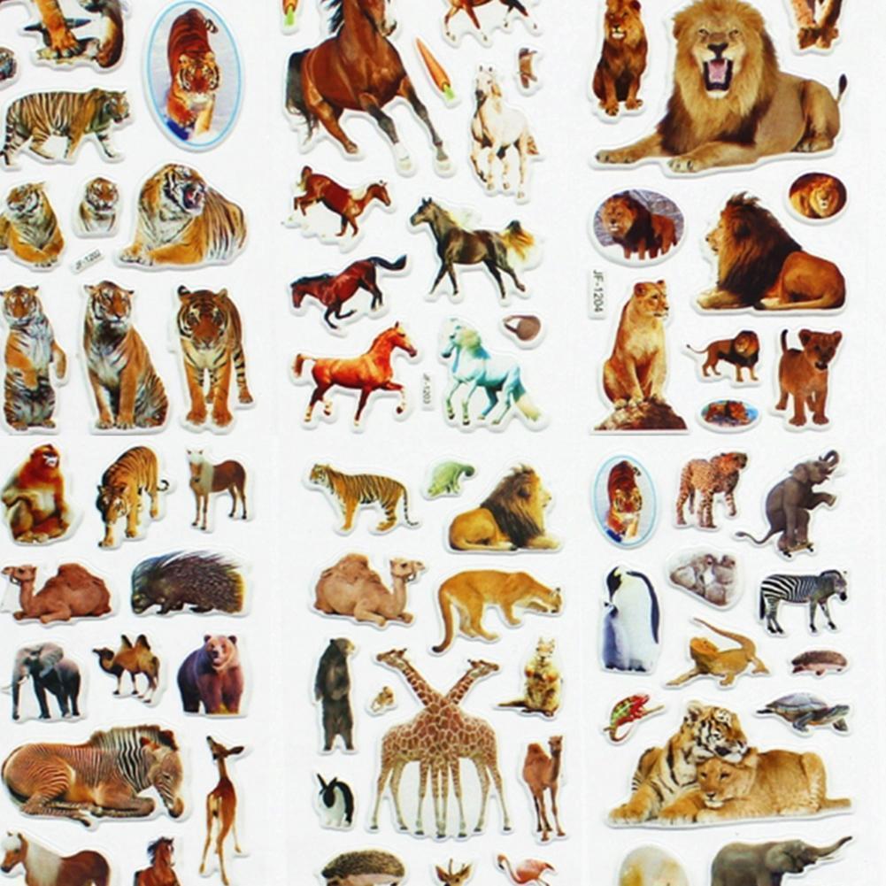10 Sheets/set Wildlife Wild Animals Scrapbooking Bubble Tigers Kawaii Stickers Stickers Lions Puffy Kids Toys Reward N0F5