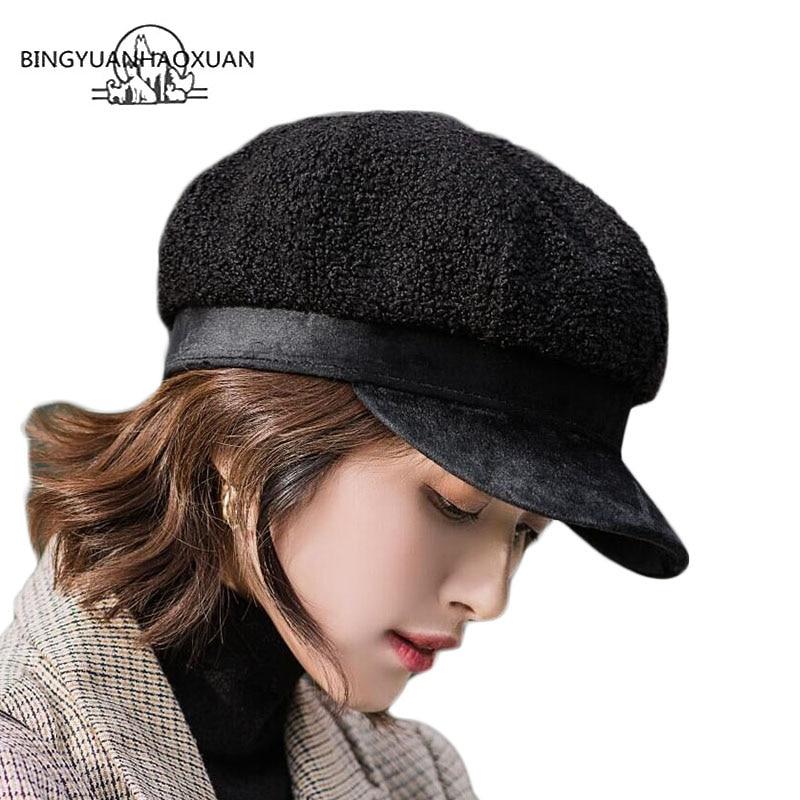 Women Faux Fur Winter Military Hat With Leather Streetwear Flat Top Men Beret Newsboy Caps Berets Ladies Fashion Hat Gorra