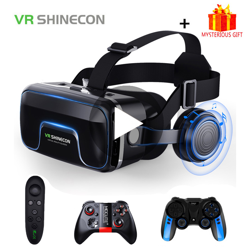 VR Shinecon 10.0 Casque Helmet 3D Glasses Virtual Reality Headset For iPhone Android Smartphone Smart Phone Goggles Lunette Set image
