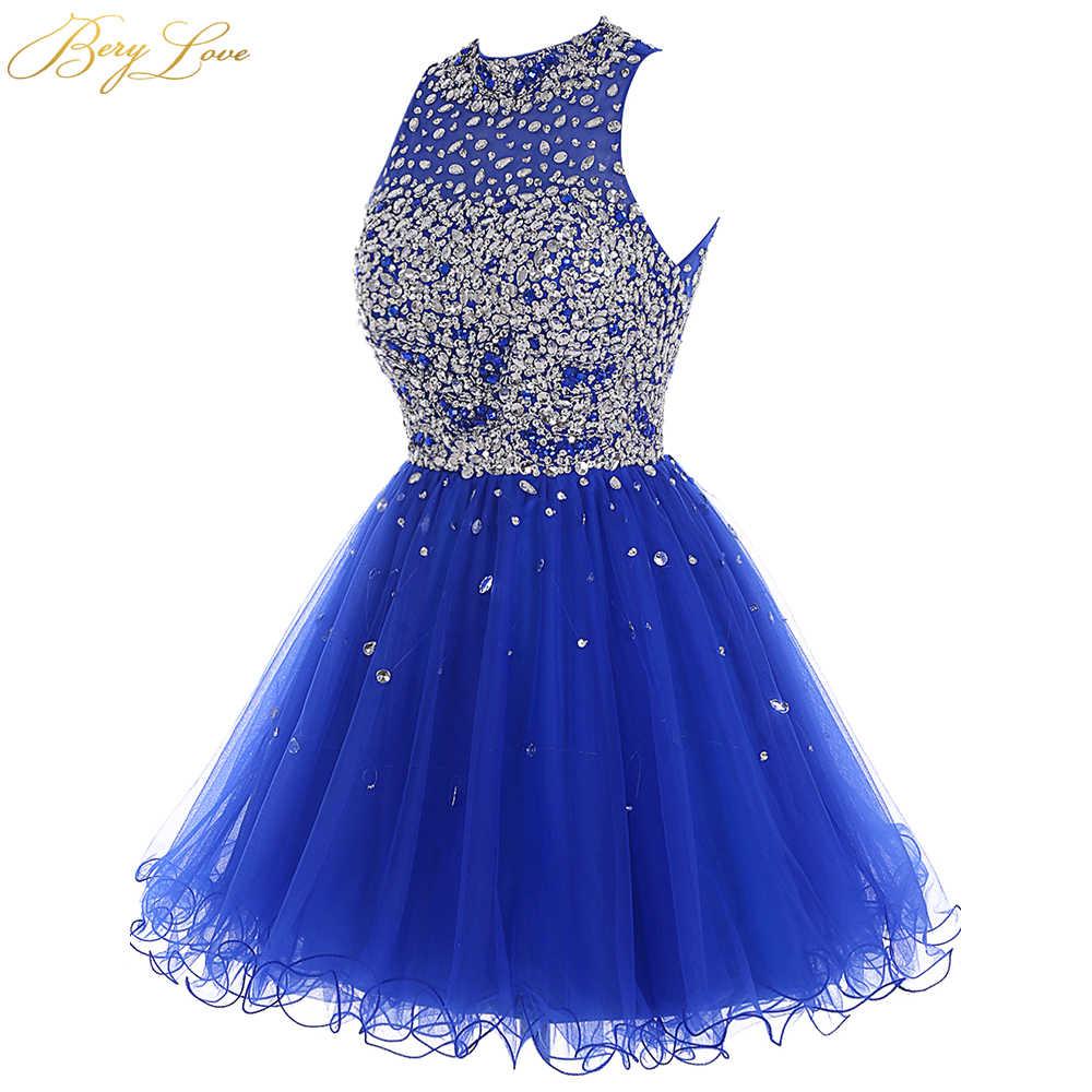 Роскошное платье с бусинами для выпускного вечера, модель 2020 года, ярко-синее мини-платье из тюля с блестками, короткое платье для выпускного вечера, вечерние мини-платья с вырезами на спине