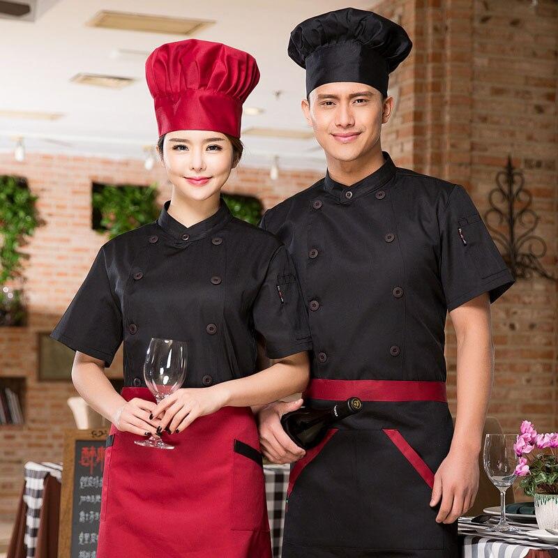 Men Women Mandarin Collar Short Sleeve Chef Coat Uniform Top+Kitchen Apron M