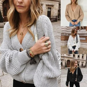 Loose Casual Knitted Cardigan 2020 Autumn And Winter Solid Color Women's Sweater Puff Sleeve Knitted Simple Jacket Women Fashion