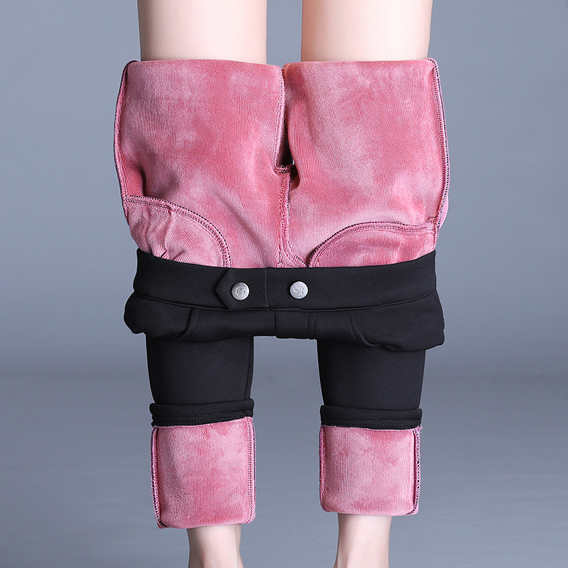 Женские брюки OUMENGKA 2020 размера плюс с пуговицами и высокой талией, черные брюки, женские зимние теплые плотные эластичные обтягивающие брюки, 4XL|Брюки |   | АлиЭкспресс