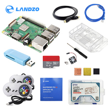 Raspberry Pi 3B + Gamepad zestaw z kontroler usb Gamepad 2 sztuk i akrylowa skrzynka radiator i kabel HDMI z kabel sieciowy