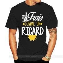 Camisetas de moda corta para hombres 100% cuello redondo estampado personalizado hombres Frais comme un ricard vino