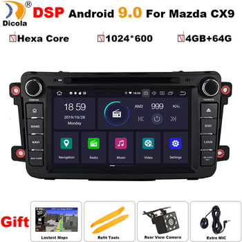 4 + 64G шестигранный PX6 Android 9,0 автомобильный DVD плеер gps навигация аудио для Mazda CX9 CX 9 CX-9 автомобильный Радио стерео Мультимедиа obd2 dvr