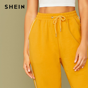 Image 4 - SHEIN Bright Yellow Drawstring Waist Contrast Piping Carrot Pants Women Autumn Active Wear High Waist Stretchy Casual Trousers
