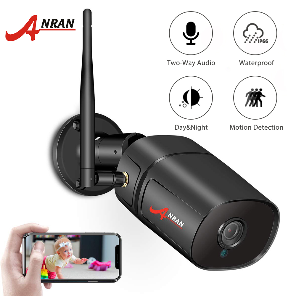ANRAN Wirelessi Video IP Camera 1080P HD Outdoor Surveillance Security Camera Two Way Audio IR Bullet Wifi Camera Support Onvif