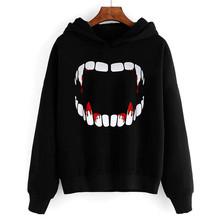 Terrible Sweatshirt Hooded Women Vampire Print Halloween Sweatshirt Pullover Sweatshirt 2020 Style Spring Sweatshirt Tops #LR4 cheap WHooHoo Polyester Hoodies REGULAR Full Broadcloth Pullovers Long Casual