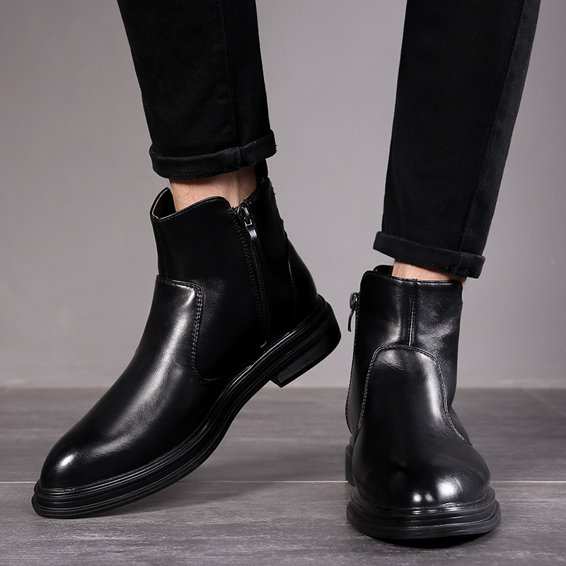 men big size casual ankle boots black
