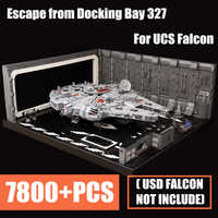 NEW MOC Escape From Docking Bay 327 Hanger Scale UCS Falcon Fit Legoings Star Wars Technic Figures for 05132 75192 Kid